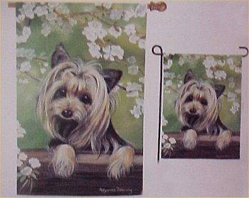 Small Yorkie Flags And Garden Stake   $16.00
